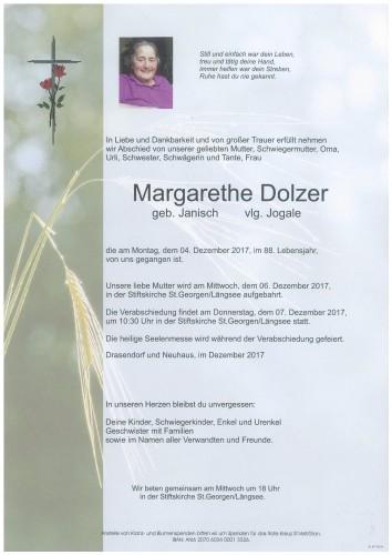 Margarethe Dolzer  geb. Janisch   vlg. Jogale