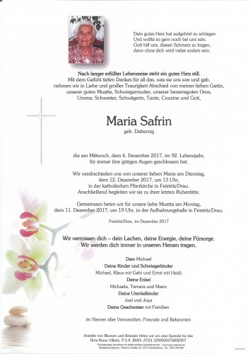 Maria Safrin, geb. Dabernig
