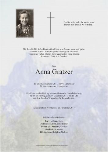 Anna Gratzer, geb. Krimbacher