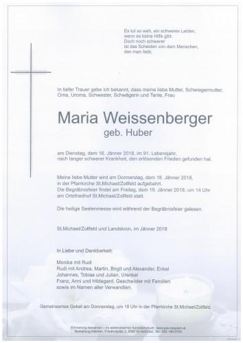 Maria Weissenberger  geb. Huber