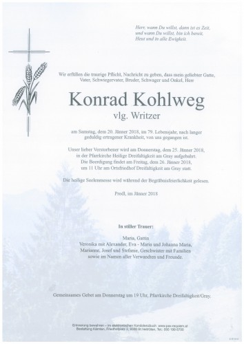 Konrad Kohlweg  vlg. Writzer