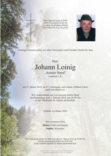 """Johann Loinig """"Anetter Hansl"""""""