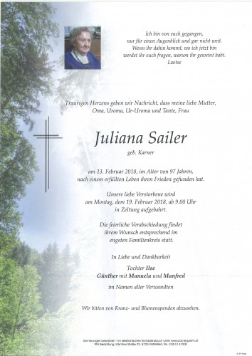 Juliana Sailer geb. Karner