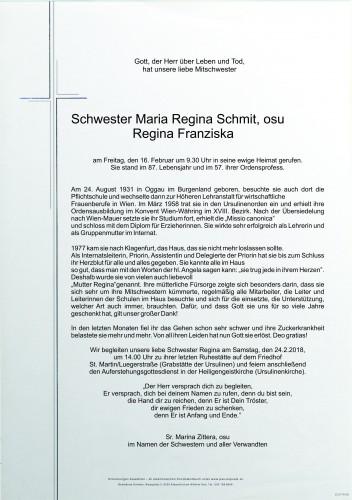 Sr. Maria Regina Schmit