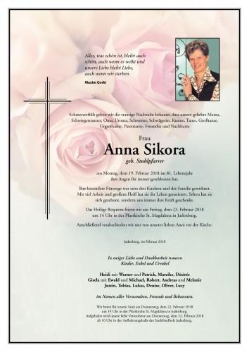 Anna Sikora geb. Stuhlpfarrer