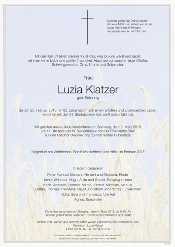 Luzia Klatzer, geb. Schaunig