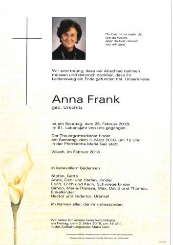 Anna Frank geb. Urschitz