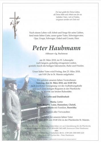 Peter Haubmann vlg. Bachmoar