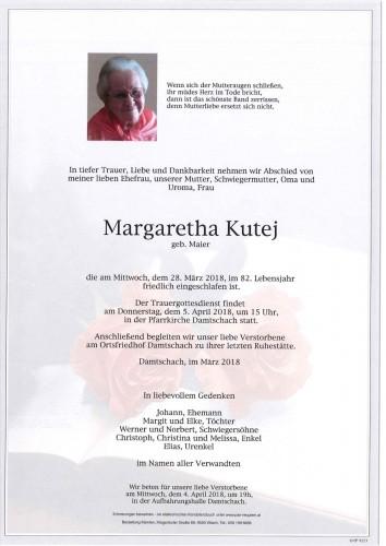 Margaretha Kutej geb. Maier