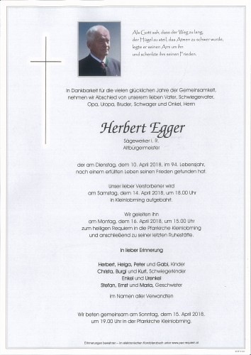 Herbert Egger, Sägewerker i. R.