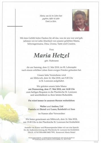 Maria Hetzel geb. Hubmann