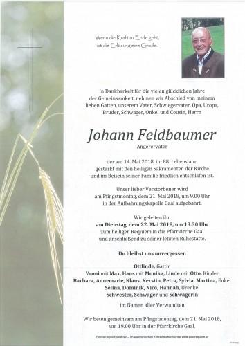 Johann Feldbaumer, Angerervater