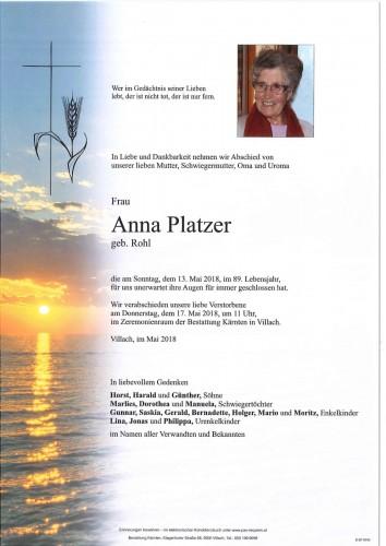 Anna Platzer geb. Rohl