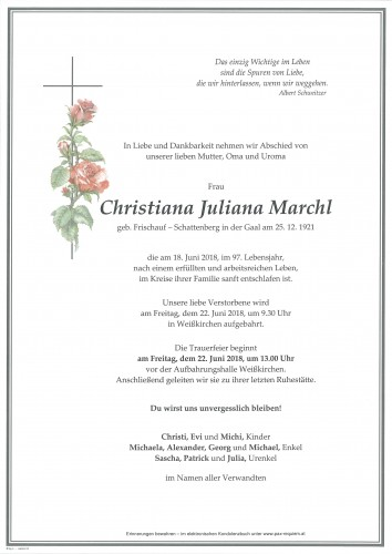 Christiana Juliana Marchl, geb Frischauf