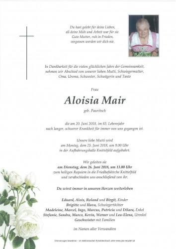 Aloisia Mair, geb. Pauritsch