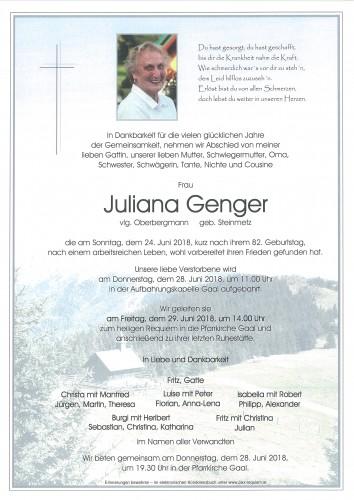 Juliana Genger, vlg. Oberbergmann