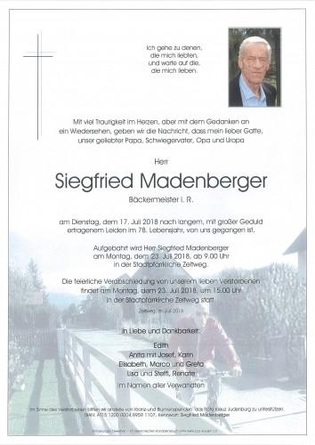 Siegfried Madenberger, Bäckermeister i.R.
