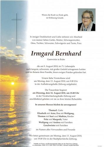 Irmgard Bernhard Gastwirtin in Ruhe
