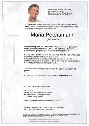 Maria Petersmann  geb. Schmid