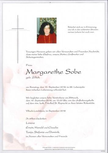 Margarethe Sobe, geb. Zillich