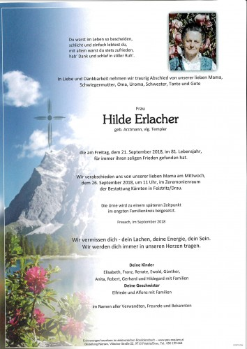 Hilde Erlacher, geb. Arztmann, vlg. Templer
