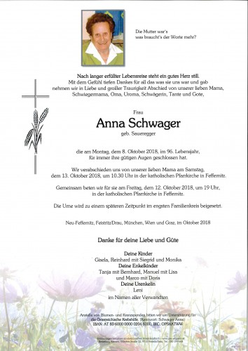 Anna Schwager, geb. Saueregger