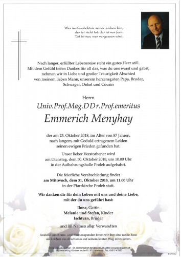 Univ.Prof.Mag.DDr.Prof.emeritus Emmerich Menyhay