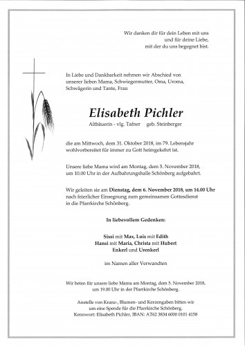 Pichler Elisabeth, vlg. Tafner