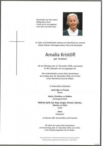 Amalia Kristöfl geb. Kordesch