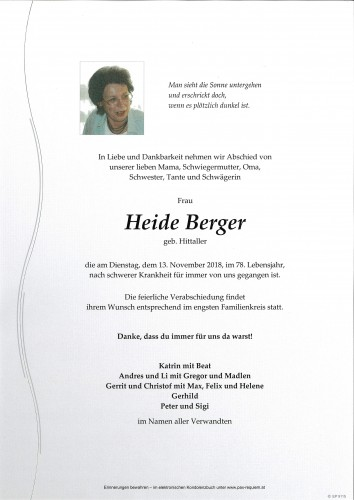 Heide Berger, geb. Hittaller