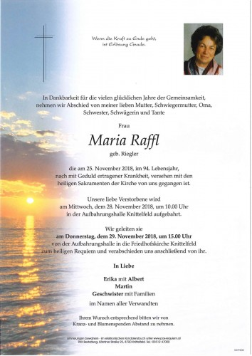 Maria Raffl, geb. Riegler