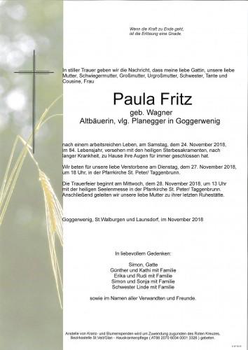 Paula Fritz geb. Wagner  vlg.Planegger