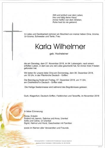 Karla Wilhelmer  geb. Hochsteiner