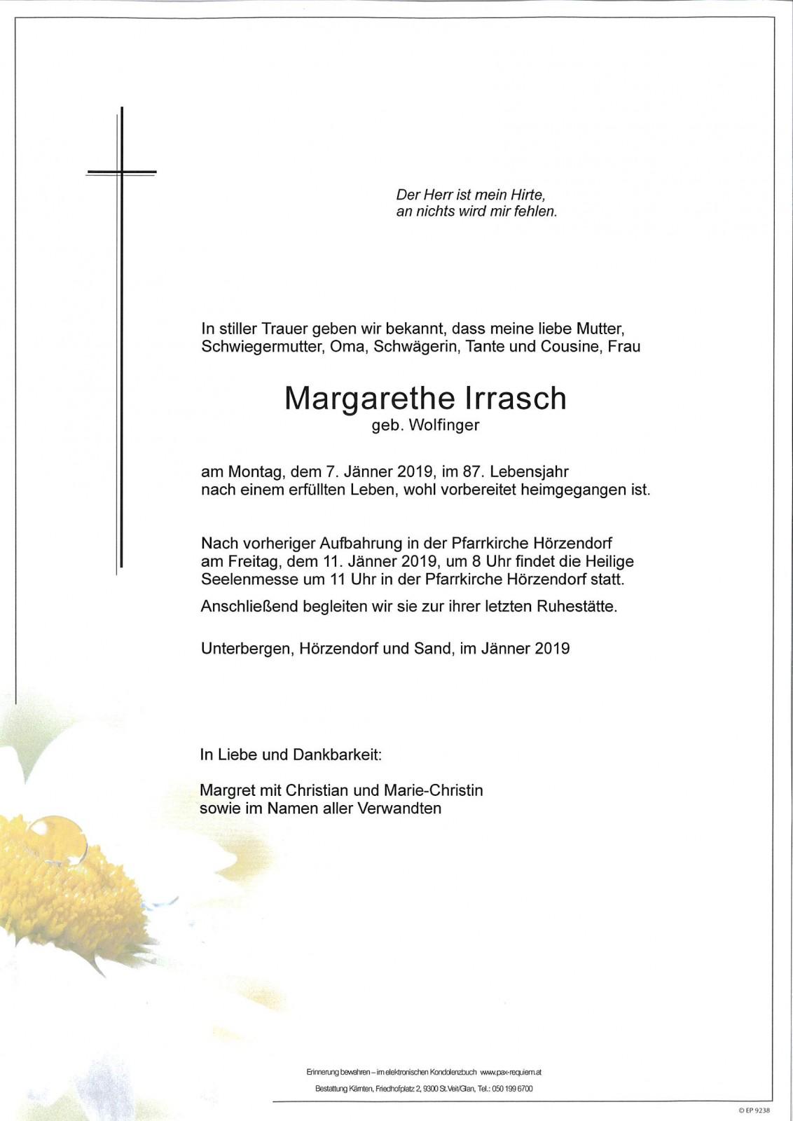 Parte für Margarethe Irrasch pax · requiem