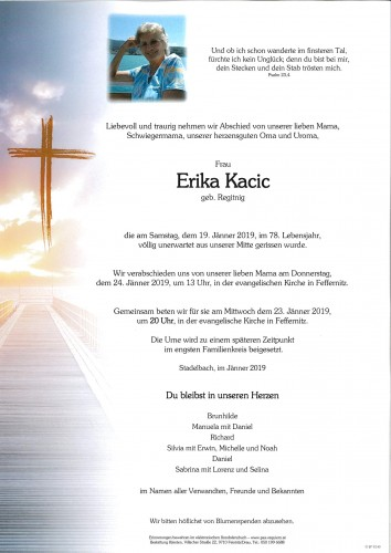 Erika Kacic, geb. Regitnig