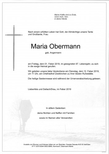 Maria Obermann geb. Angermann