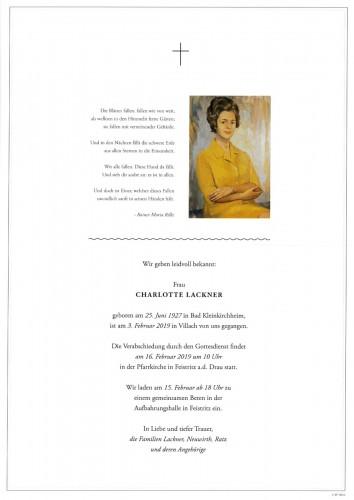 Charlotte Lackner, geb. Wegscheider