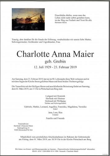 Charlotte Anna Maier  geb. Grebin
