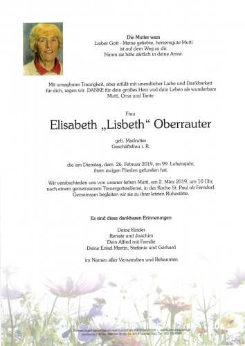 Elisabeth Oberrauter geb. Madrutter