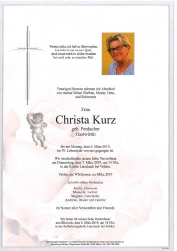 Christa Kurz geb. Perdacher