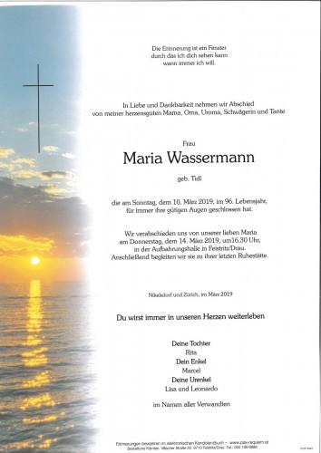 Maria Wassermann, geb. Tidl