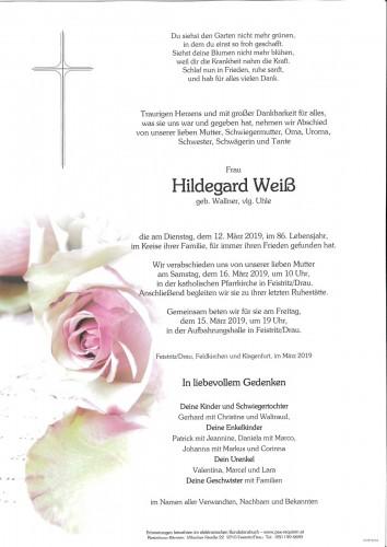 Hildegard Weiß. geb. Wallner vlg. Uhle