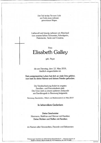 Elisabeth Galley, geb. Payer