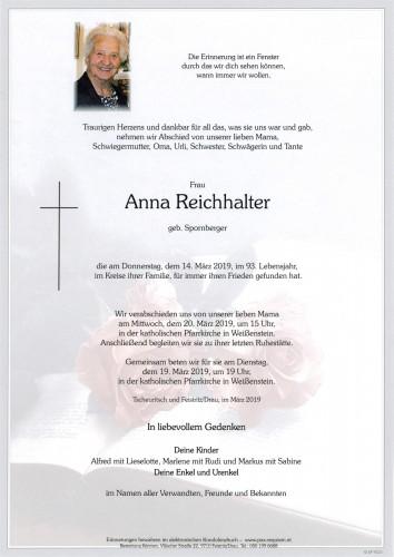 Anna Reichhalter, geb Spornberger