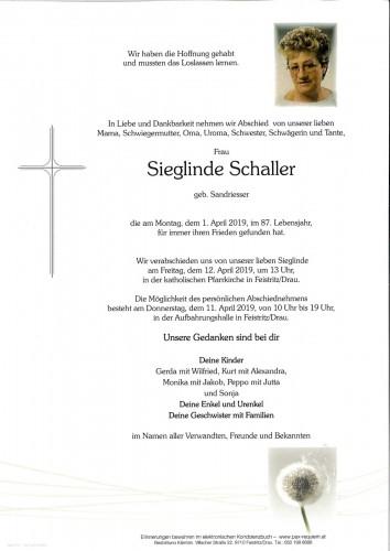 Sieglinde Schaller, geb. Sandriesser