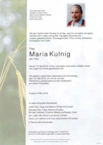 Maria Kulnig, geb. Köfer