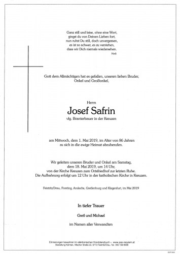 Josef Safrin, vlg. Branterbauer