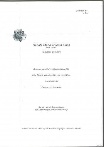 Renate Gries  geb. Niemitz