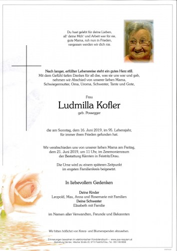 Ludmilla Kofler, geb. Possegger