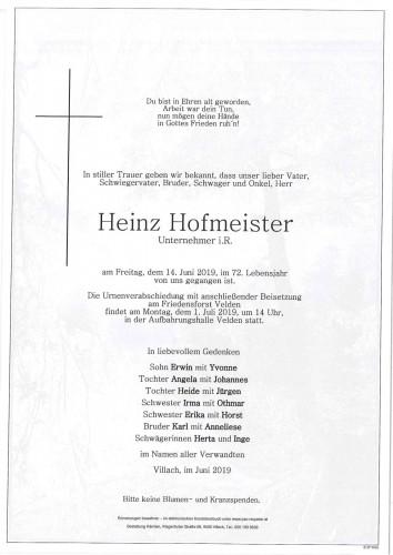 Heinz Hofmeister